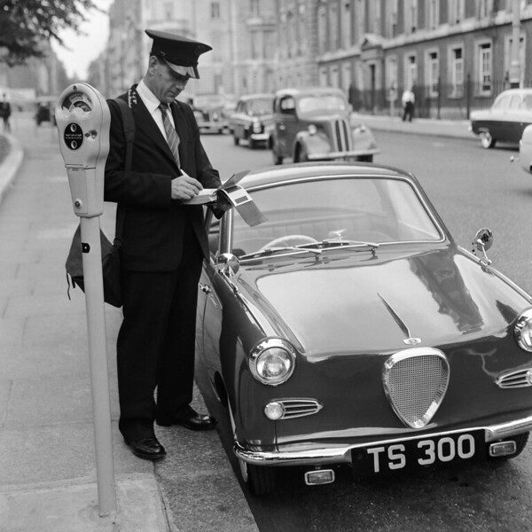 Parking meter in London, 1960