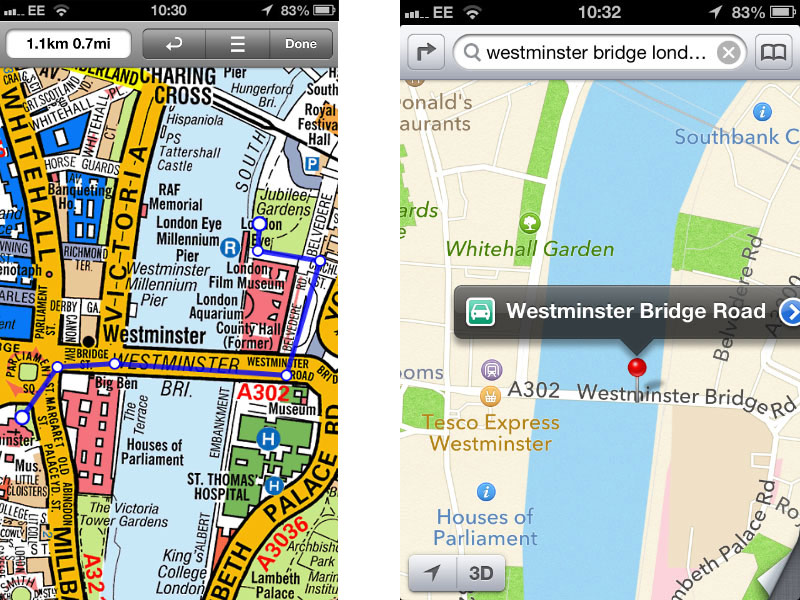 Comparison of A-Z map and iOS map
