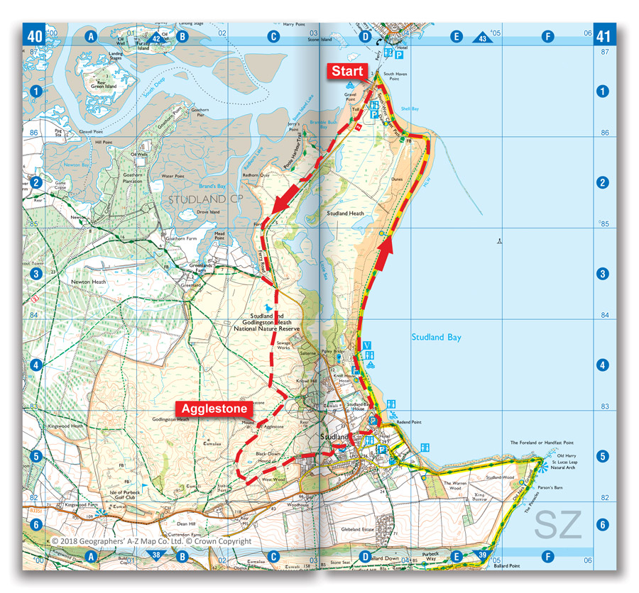 Agglestone Rock and Studland walk map