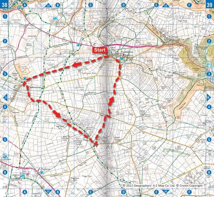 Chelmorton © Crown Copyright © 2012 Geographers' A-Z Map Co. Ltd.