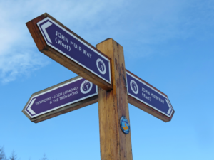 clear signpost on The John Muir Way