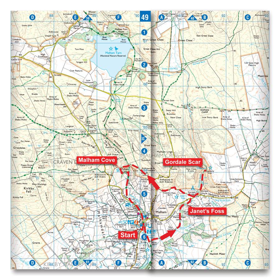 Malham Cove circular walk map