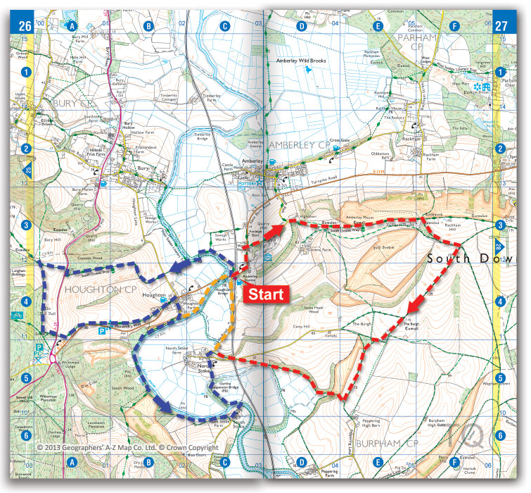 Walking route map around Amberley station on the South Downs Way