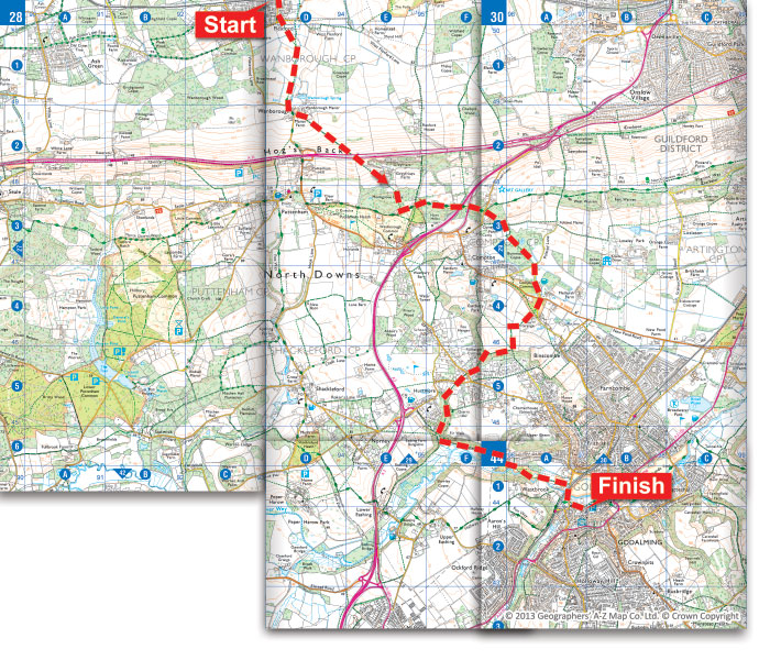 Route map for Wanborough to Godalming in the Surrey Hills