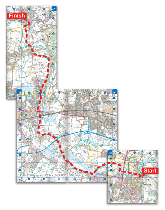 Walking route map from Windsor to Bourne End on the Thames Path