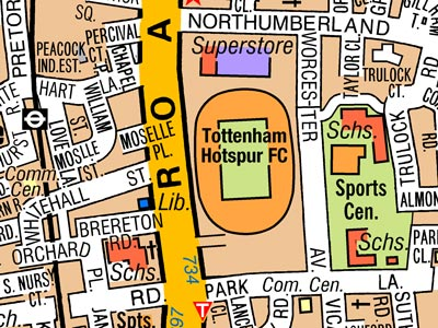 Map of Tottenham Hotspur Stadium