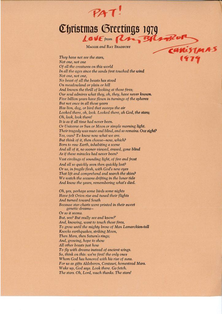 Ray Bradbury - 1979 christmas poem letter