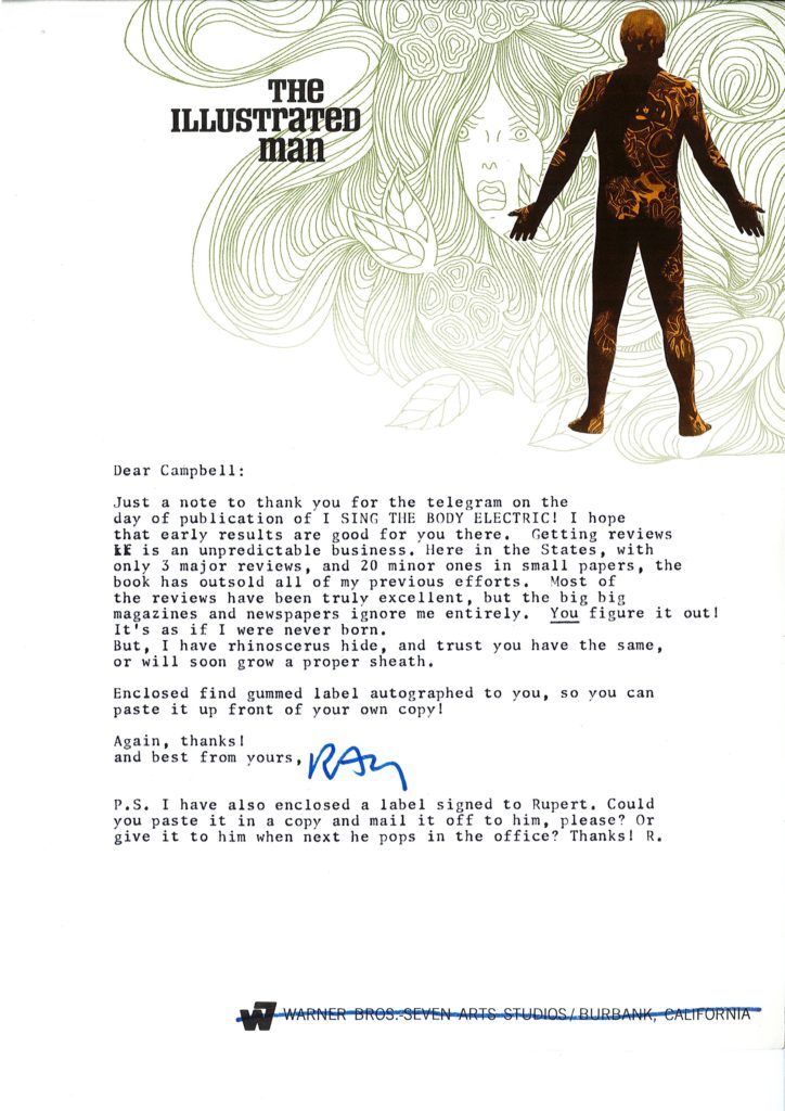 Ray Bradbury - c1970 letter